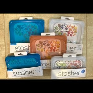 🍊Stashers- 3 Sandwich and 2 Snacks Bags